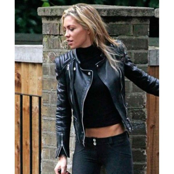 Abbey Clancy Black Leather Biker Jacket