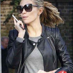 Abbey Clancy Black Leather Biker Jacket front