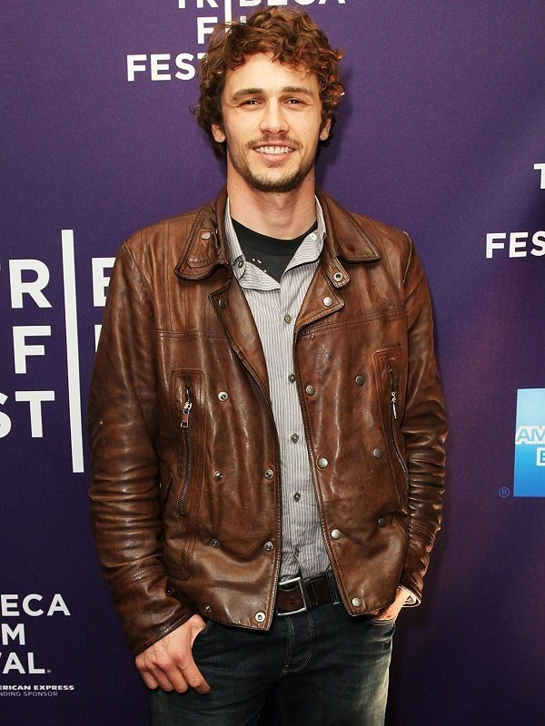 Actor James Edward Franco Brown Leather Jacket front