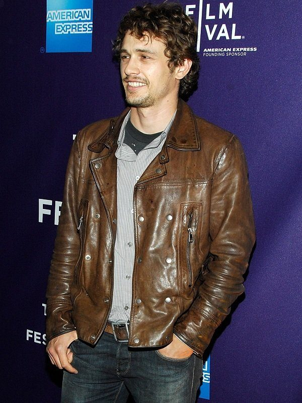 Actor James Edward Franco Brown Leather Jacket side