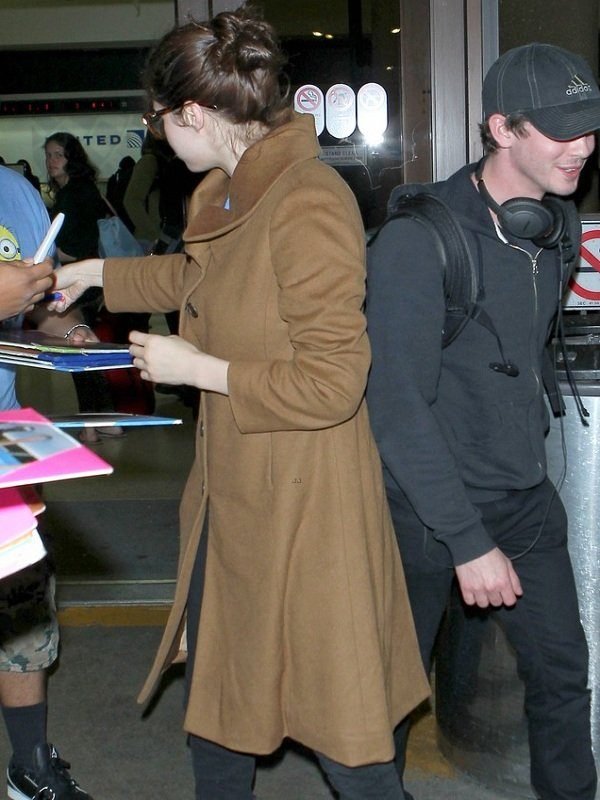 Actress Alexandra Daddario Brown Wool Long Coat 2