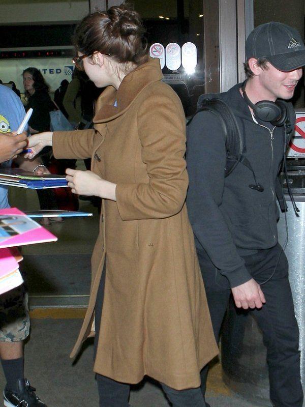 Actress Alexandra Daddario Brown Wool Long Coat 2