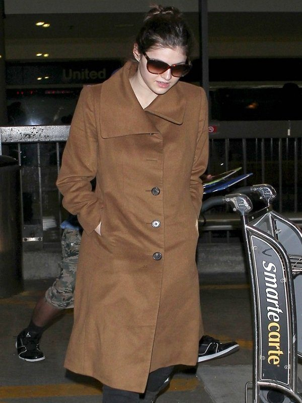 Actress Alexandra Daddario Brown Wool Long Coat