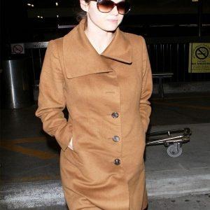 Actress Alexandra Daddario Brown Wool Long Coat back