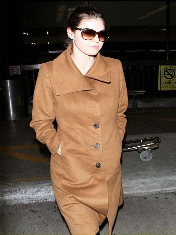 Actress Alexandra Daddario Brown Wool Long Coat back