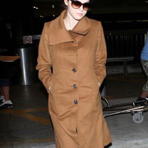 Actress Alexandra Daddario Brown Wool Long Coat front