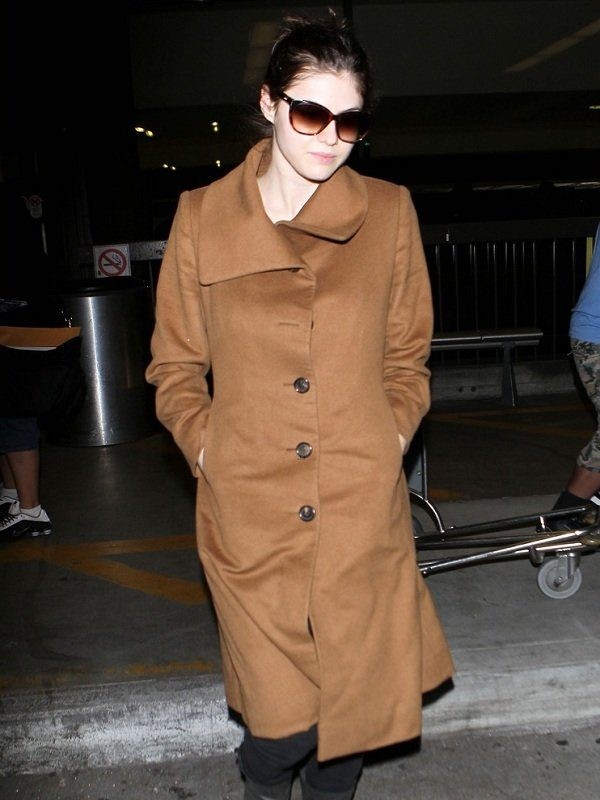 Actress Alexandra Daddario Brown Wool Long Coat front