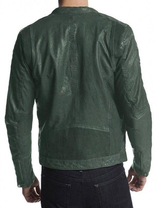 Adrien Brody American Heist Green Leather Jacket back