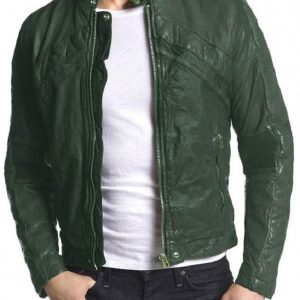 Adrien Brody American Heist Green Leather Jacket front