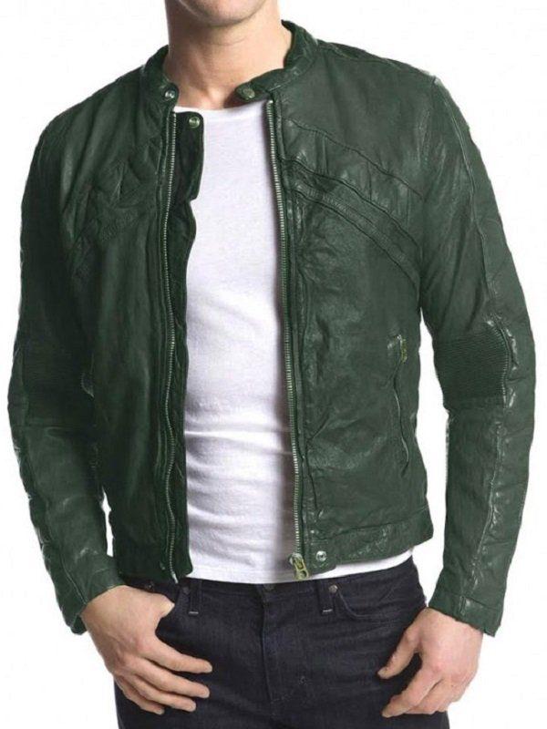 Adrien Brody American Heist Green Leather Jacket front