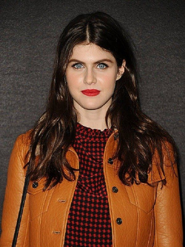 Alexandra Daddario Brown Fur Leather Jacket
