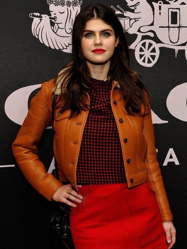 Alexandra Daddario Brown Fur Leather Jacket front