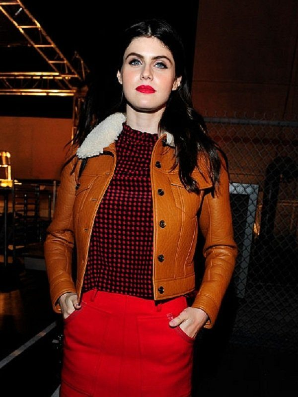 Alexandra Daddario Brown Fur Leather Jacket side