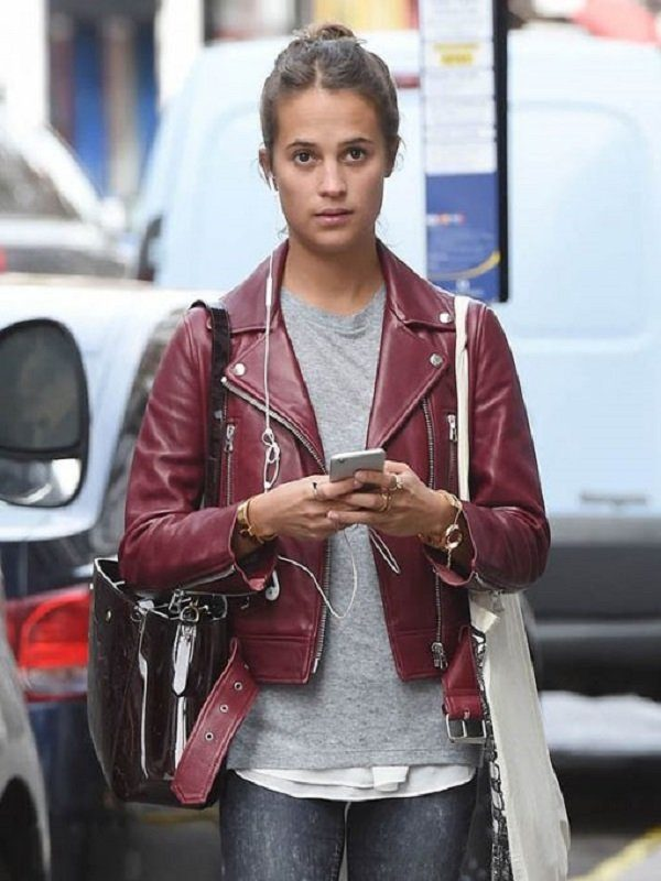 Alicia Vikander Stylish Maroon Leather Jacket front