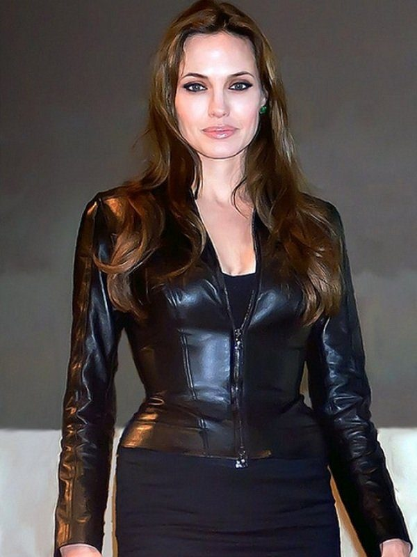American Actress Angelina Jolie Black Leather Jacket front