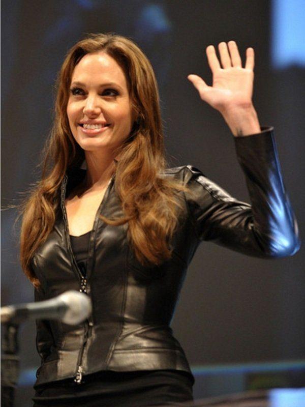 American Actress Angelina Jolie Black Leather Jacket side