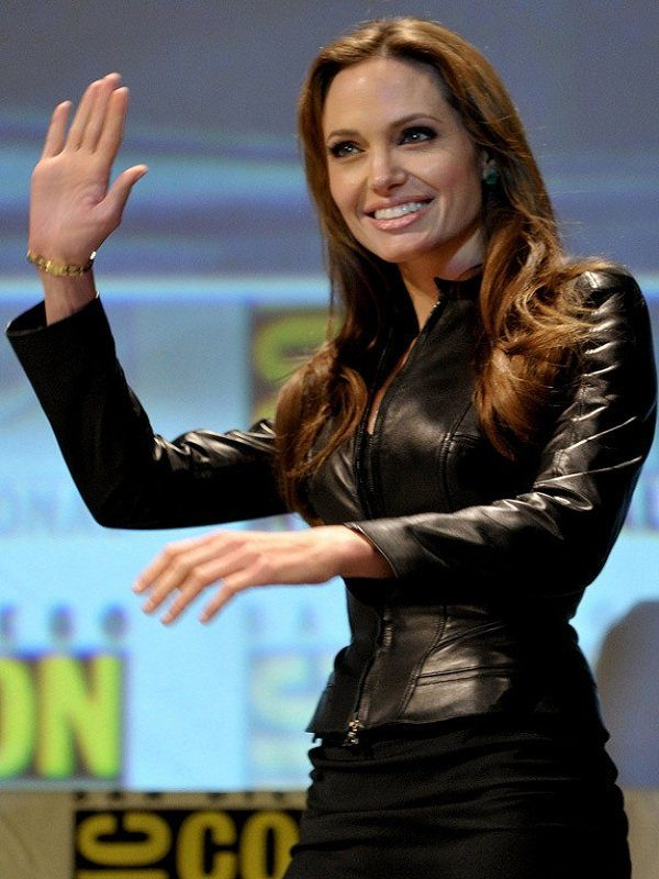American Actress Angelina Jolie Black Leather Jacket1