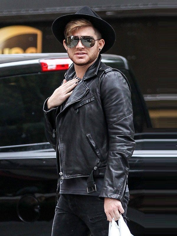 American Singer Adam Lambert Black Biker Jacket side