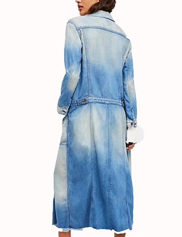 Arrow Season 7 Andrea Sixtos Blue Denim Long Coat back