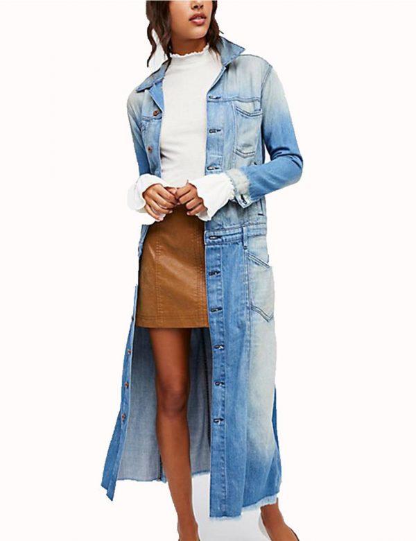 Arrow Season 7 Andrea Sixtos Blue Denim Long Coat front