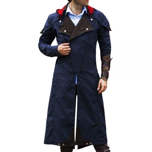 Assassin's Creed Unity Arno Victor Dorian Denim Cloak Hoodie Cosplay Coat front