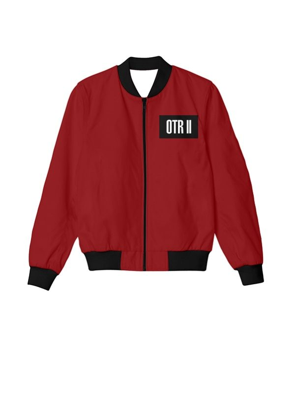 Beyonce And Jay Z Otr 2 Tour Red Bomber Jacket
