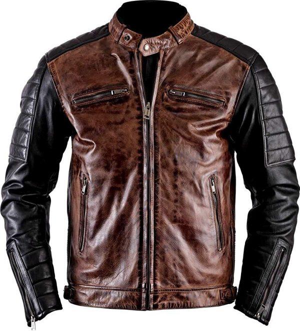 Cafe Racer Antique Brando Vintage Motorcycle Jacket front