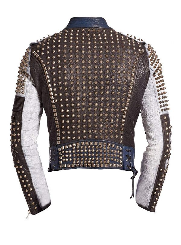 Cafe Racer Gold Studded Multicolored Punk Retro Biker Leather JacKet back