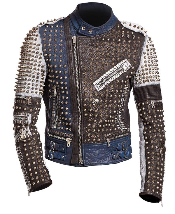 Cafe Racer Gold Studded Multicolored Punk Retro Biker Leather JacKet front