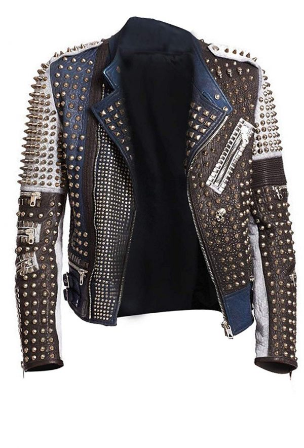 Cafe Racer Gold Studded Multicolored Punk Retro Biker Leather JacKet open
