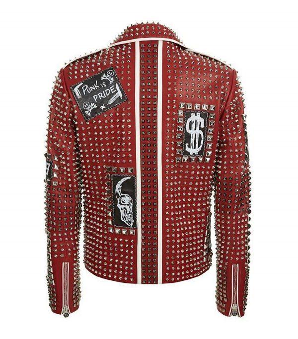 Cafe Racer Studded Biker Punk Is Pride Red Brando Jacket back