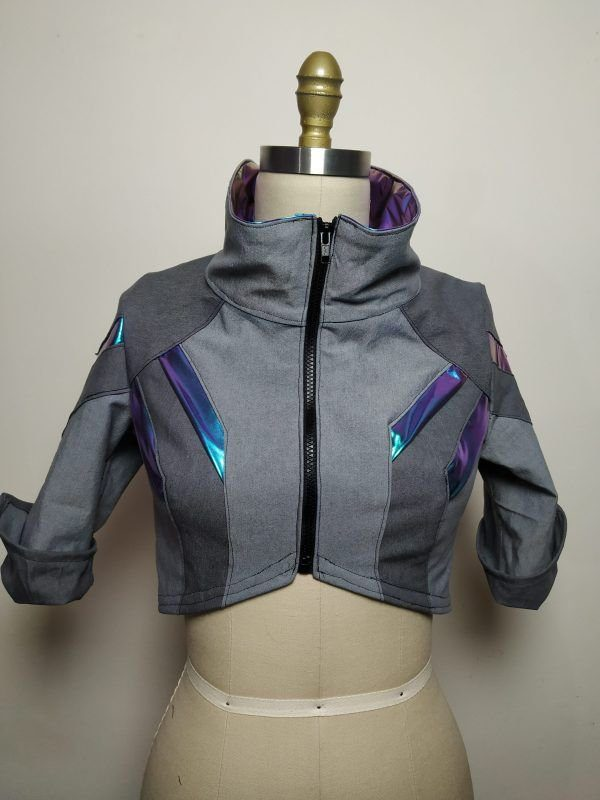Cyberpunk ShadowRun TwilightSins Grey Leather Jacket Front