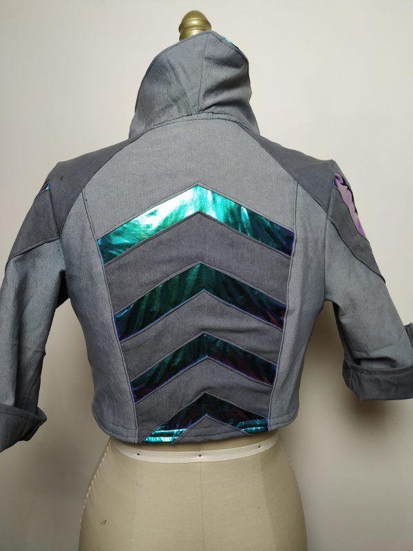 Cyberpunk ShadowRun TwilightSins Grey Leather Jacket back