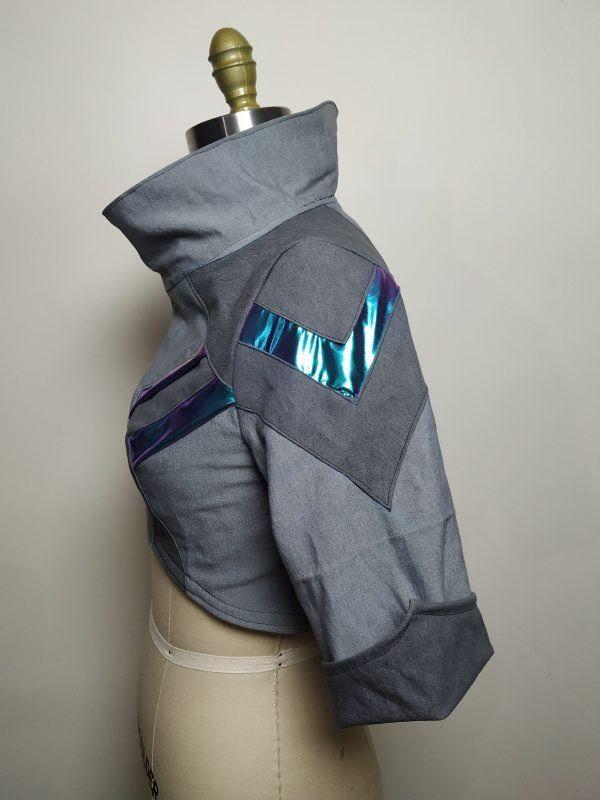 Cyberpunk ShadowRun TwilightSins Grey Leather Jacket side