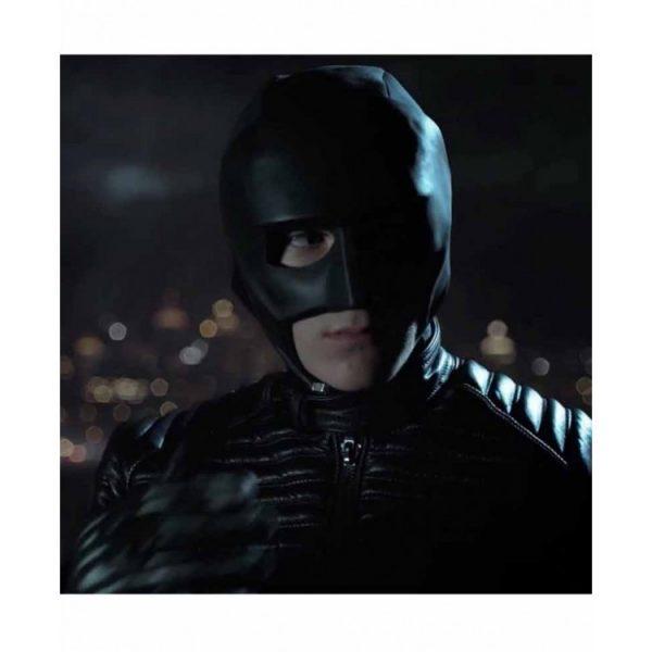 David Mazouz Gotham Season 5 Batman Black Leather Jacket half