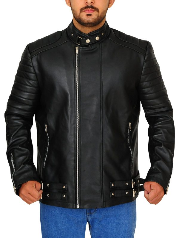 Deadpool Ajax Ed Skrein Black Leather Jacket front