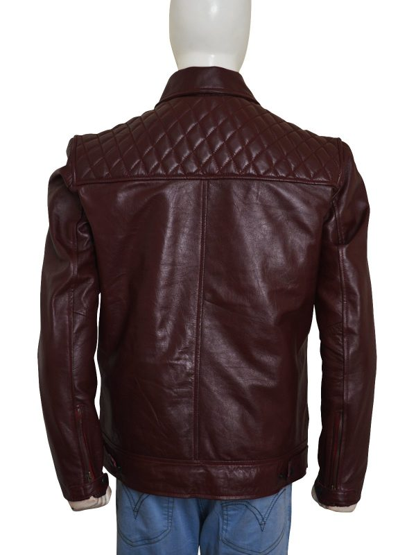 'Edge' Adam Joseph Copeland Maroon Leather Jacket back