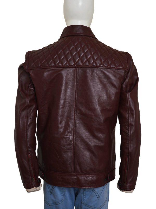 'Edge' Adam Joseph Copeland Maroon Leather Jacket back