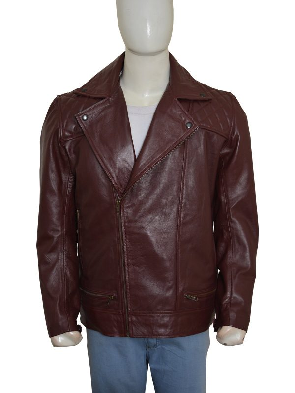 'Edge' Adam Joseph Copeland Maroon Leather Jacket front