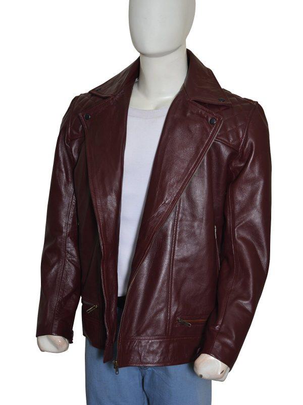'Edge' Adam Joseph Copeland Maroon Leather Jacket side
