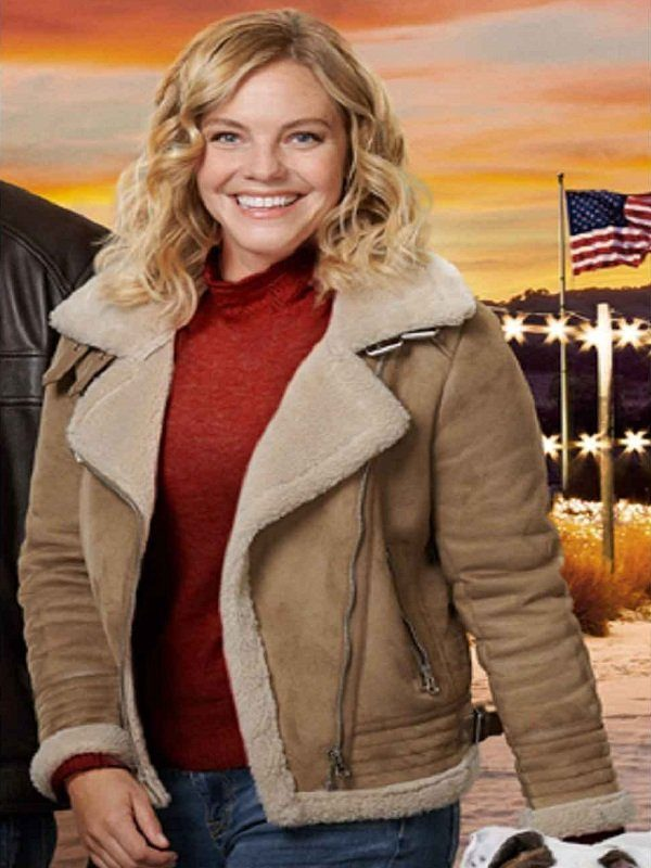 Eloise Mumford A Veterans Christmas Shearling Suede Jacket front