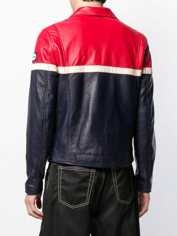 FILA Contrast Panels Leather Jacket back