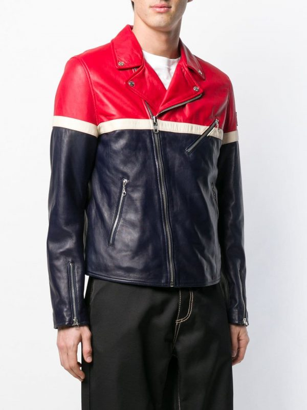 FILA Contrast Panels Leather Jacket full