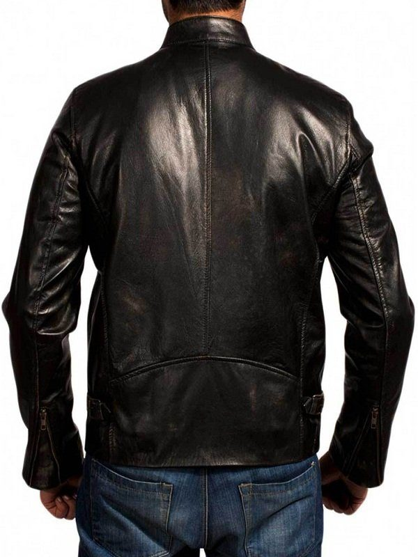 Godzilla Aaron Taylor-Johnson Black Leather Jacket back