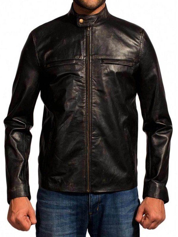 Godzilla Aaron Taylor-Johnson Black Leather Jacket front