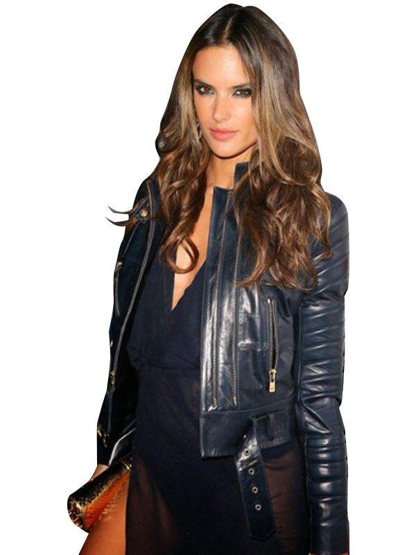 Grammy Awards Alessandra Ambrosio Blue Leather Jacket