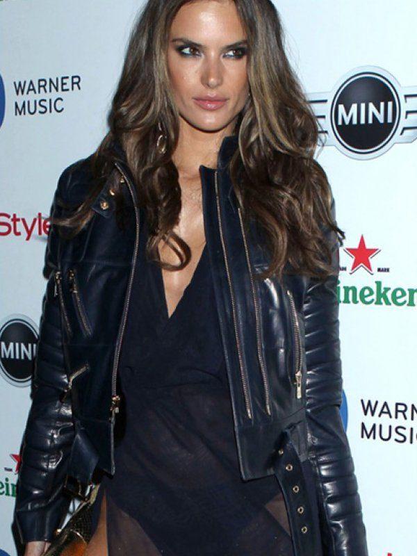 Grammy Awards Alessandra Ambrosio Blue Leather Jacket front