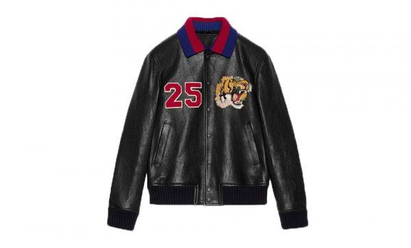 Gucci 25 Lion Logo Black Leather Jacket