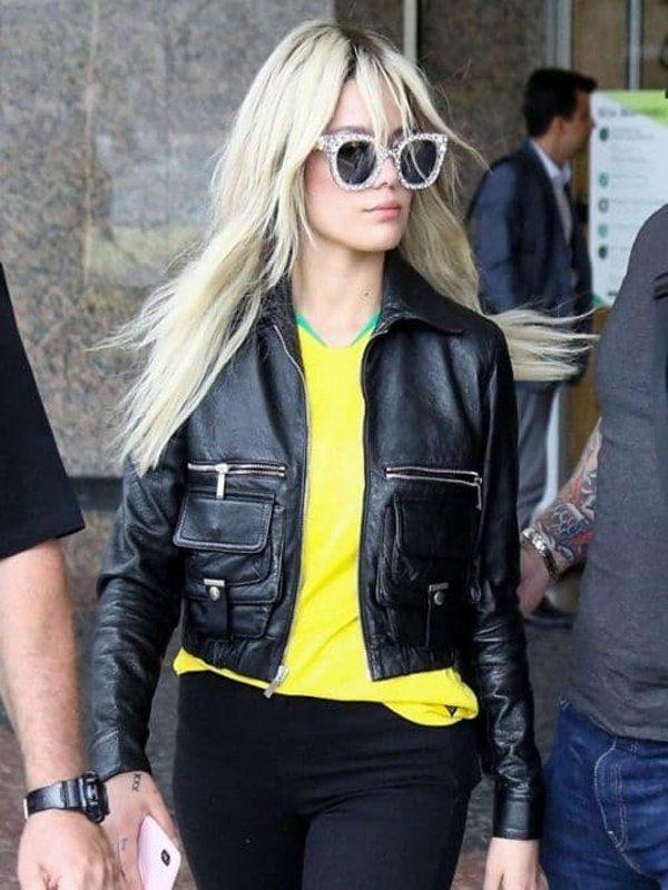 Halsey Ashley Nicolette Black Leather Jacket front