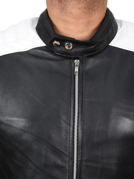 Ian Nerve Dave Franco Biker Leather Jacket neck